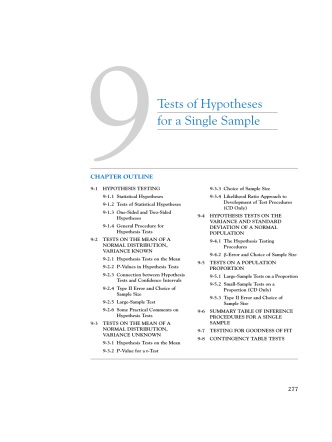 9Tests of Hypotheses for a Single Sample