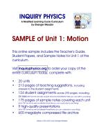 Unit 1: Motion - SAMPLE