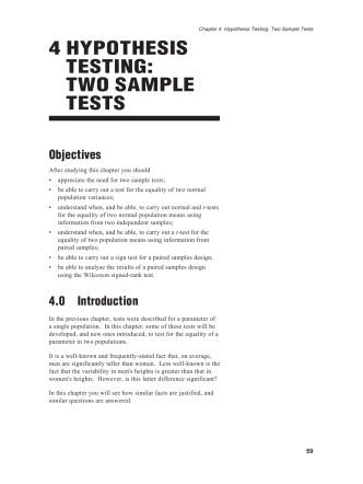 4 HYPOTHESIS TESTING: TWO SAMPLE TESTS