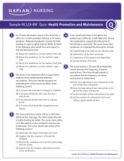 Sample NCLEX-RN®* Quiz: Health Promotion and Maintenance
