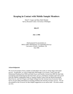 Keeping in Contact with Mobile Sample Members - Institute for