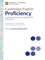 Cambridge English: Proficiency Specs and - Venturesbooks.cz