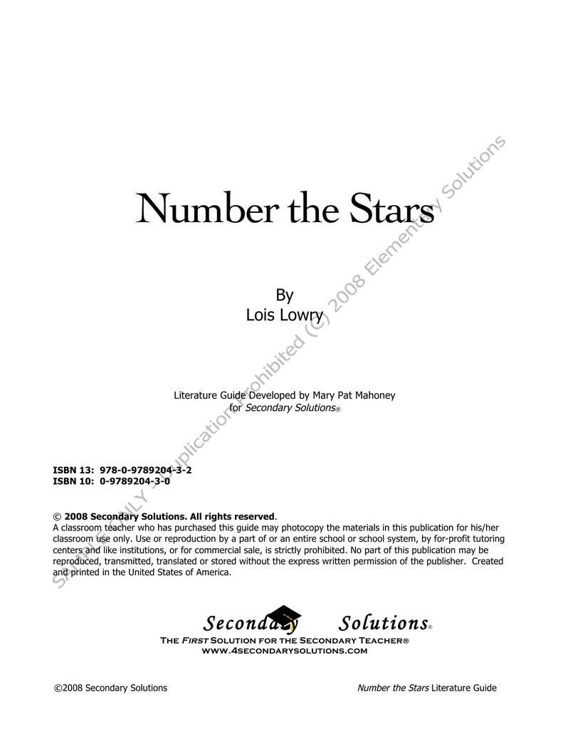 number the stars sample pages elementary solutions rh paperzz com Primary and Secondary Sources Examples the giver literature guide 2008 secondary solutions answers