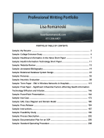 PORTFOLIO TABLE OF CONTENTS Sample: My - LisaRomanoski