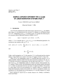 SAMPLE LYAPUNOV EXPONENT FOR A CLASS - Project Euclid