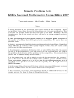 Sample Problem Sets KSEA National Mathematics Competition 2007