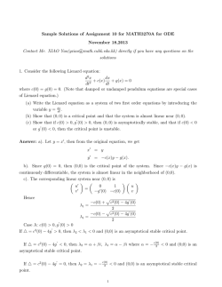 Sample Solutions of Assignment 10 for MATH3270A for ODE