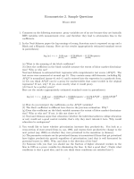 Econometrics 2. Sample Questions - Personal pages of the CEU