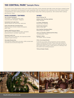 150 CENTRAl PARk* Sample menu - A Royal Caribbean Cruise