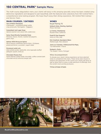 150 CENTRAl PARk* Sample menu - A Royal Caribbean Cruise