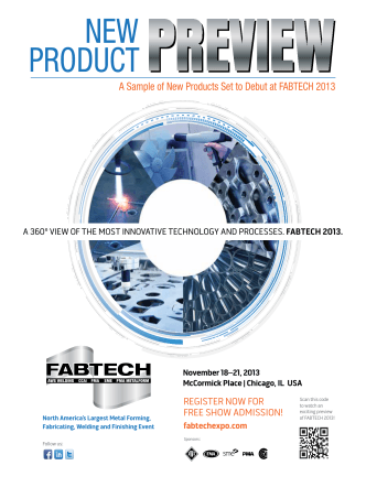A Sample of New Products Set to Debut at FABTECH 2013