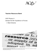 GCE Physics (Specification A) Teacher Resource Bank Sample AS