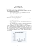 Sample Exam #1 Elementary Statistics
