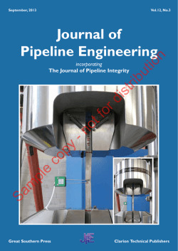 Journal of Pipeline Engineering Sample copy - not for distribution