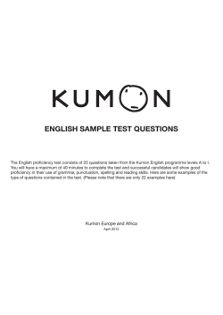 ENGLISH SAMPLE TEST QUESTIONS - Kumon UK