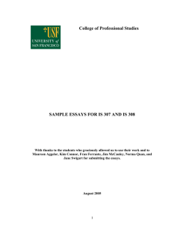 College of Professional Studies SAMPLE ESSAYS FOR IS 307 AND