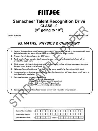 CLASS 9 _9TH GOING 10TH_ STRD SAMPLE PAPER _I.Q  PCM_