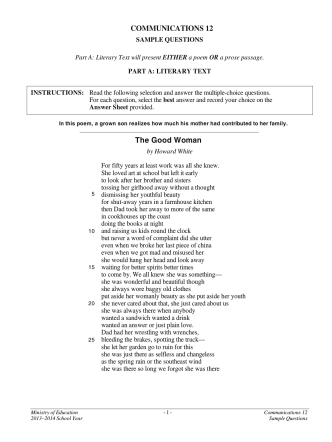 Communications 12 Sample Questions - Education