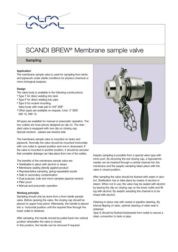 SCANDI BREW® Membrane sample valve - Alfa Laval