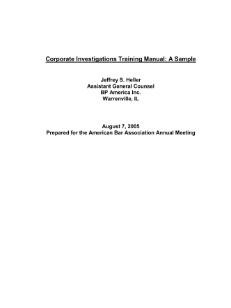 Corporate Investigations Training Manual: A Sample - American Bar