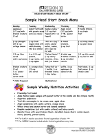 Sample Head Start Snack Menu