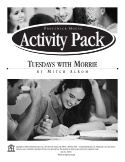 Tuesdays with Morrie - Activity Pack Sample PDF - Prestwick House