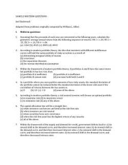 SAMPLE MIDTERM QUESTIONS Joel Hasbrouck Adapted from