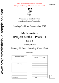 www.projectmathshelp.ie sample solution