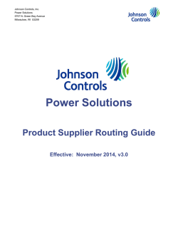 [PDF] Supplier Routing Guidelines - Johnson Controls Inc.
