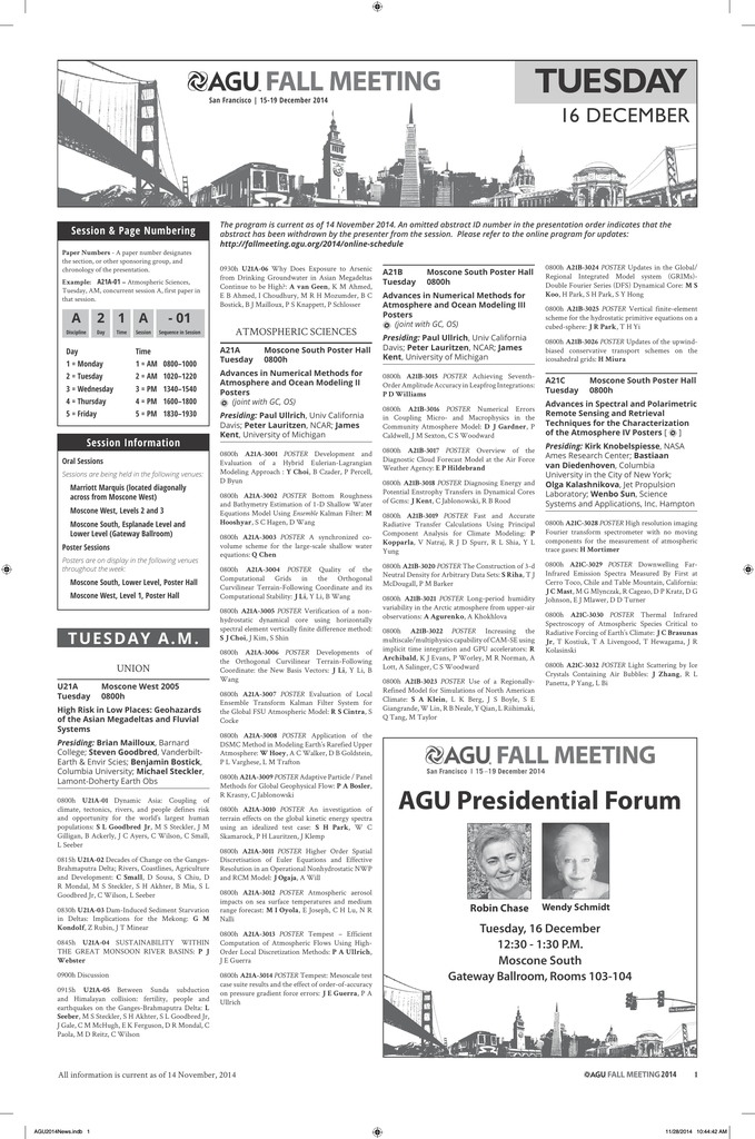 Tuesday Daily Newspaper 2014 Agu Fall Meeting American
