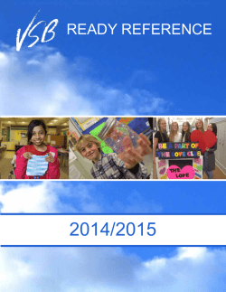 VSB Ready Reference - Vancouver School Board