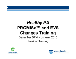 Implementation of Healthy PA - PROMISe