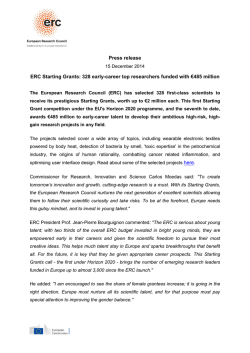 Press Release - 2014 ERC Starting Grants - Europa