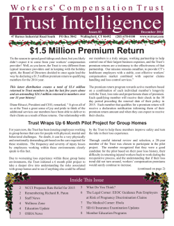 December 2014 Newsletter - The Trust