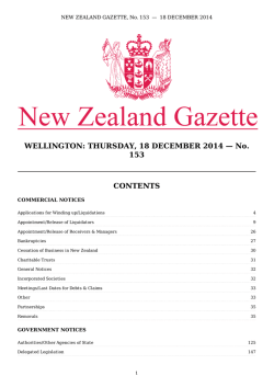 WELLINGTON: THURSDAY, 18 DECEMBER 2014 - New Zealand