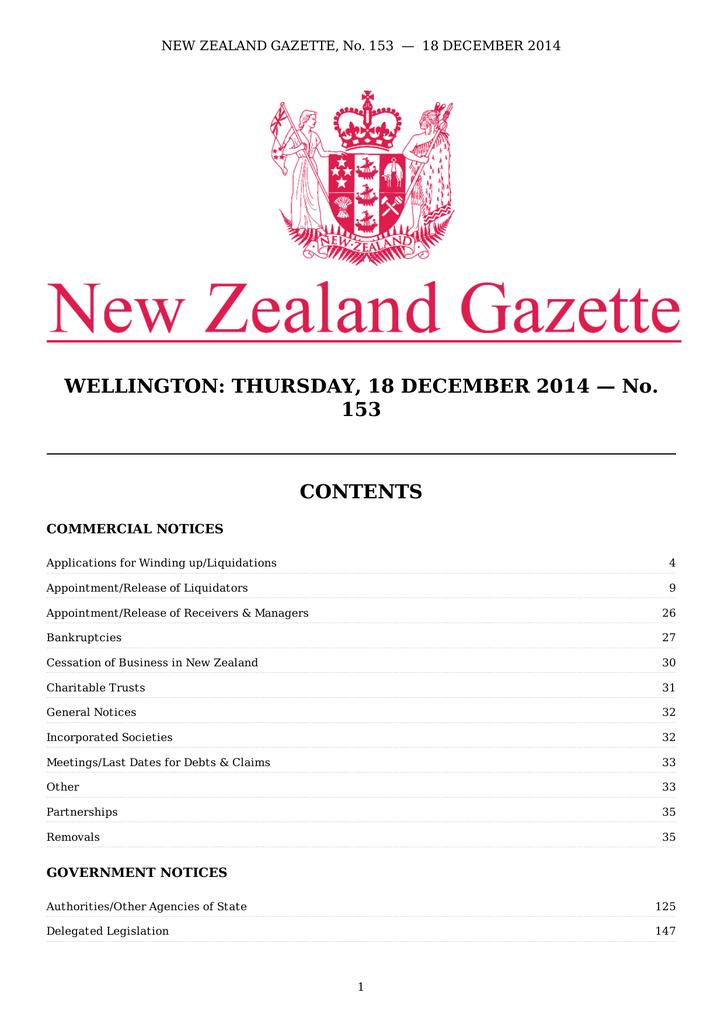 Wellington Thursday 18 December 2014 New Zealand