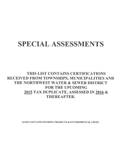 NEW* 2015 Pending Special Assessments