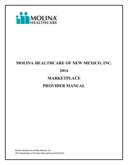 molina healthcare of new mexico, inc. 2014 marketplace provider