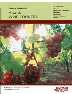 M&A in Wine Country - Harvard Business School Press