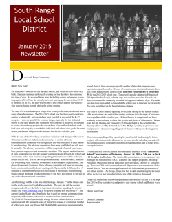 January 2015 Newsletter - South Range Local School District