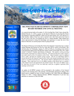 january 2015 - the latest! - Big Pine Paiute Tribe of the Owens Valley
