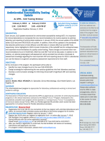 CLSI 2015 Antimicrobial Susceptibility Testing Update