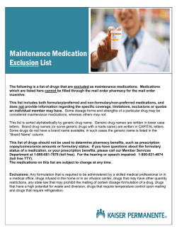 Maintenance Medication Exclusion List - Kaiser Permanente