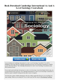 Cambridge International As And A Level Sociology - myPDFol.Com