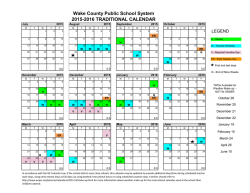 WCPSS 2015-2016 Traditional Calendar - Wake County Public