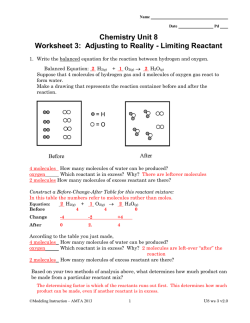Chemistry Unit 8 Worksheet 3: Adjusting to Reality - Limiting Reactant