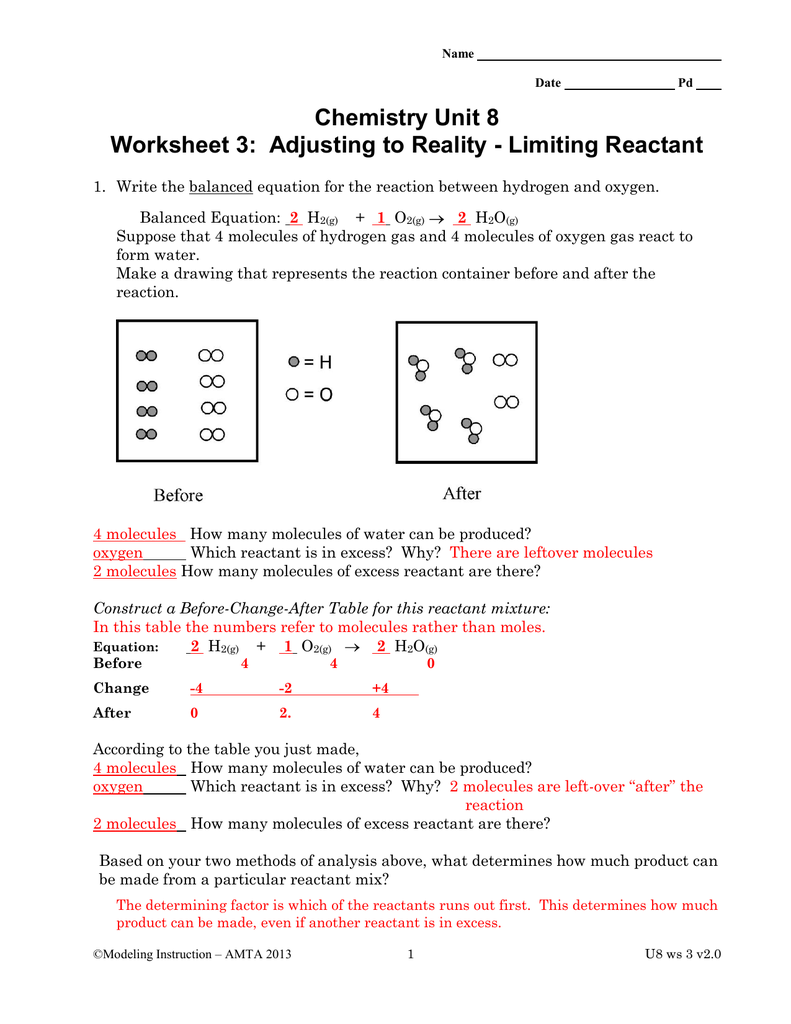 Chemistry Unit 8 Worksheet 3 Adjusting To Reality Limiting Reactant
