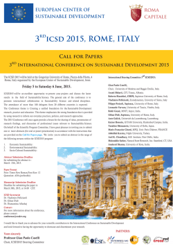 3° ICSD 2015,5-6 June, Rome Italy, International Conference on Sustainable Development Rome, Italy