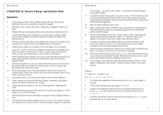 CHAPTER 16: Electric Charge and Electric Field