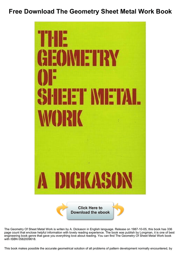 The geometry of sheet metal work download.